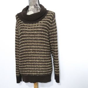 Dana Buchman Cowl Neck Sweater Sz XL Metallic